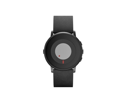 Pebble Time Round Black Leather