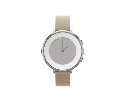 Pebble Time Round Silver Stone Leather